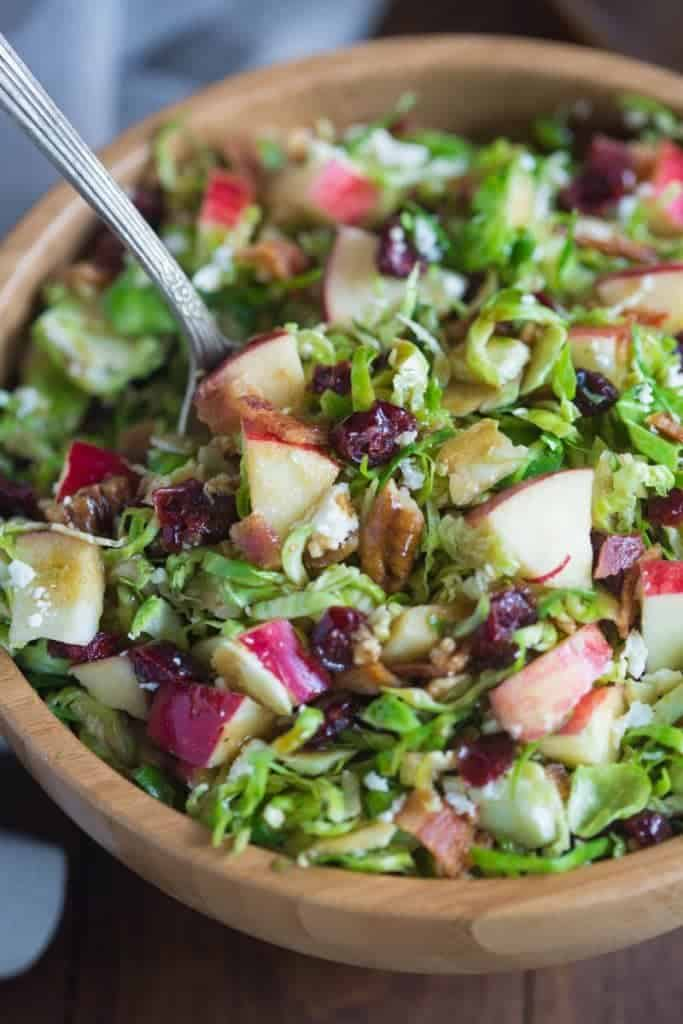 Shredded Brussels Sprout with Cranberries and Pecans.