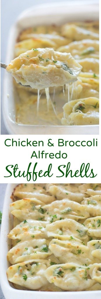 Chicken and Broccoli Alfredo Stuffed Shells include tender pasta shells filled with a cheesy shredded chicken and broccoli mixture and smothered in an easy homemade alfredo sauce. | tastesbetterfromscratch.com  #easy #recipes #withoutricotta #homemade