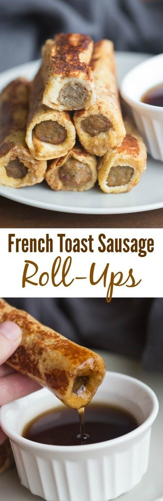 Easy to make and fun to eat, these French Toast Sausage Roll-Ups are always popular with my family. A yummy twist on traditional french toast. | Tastes Better From Scratch