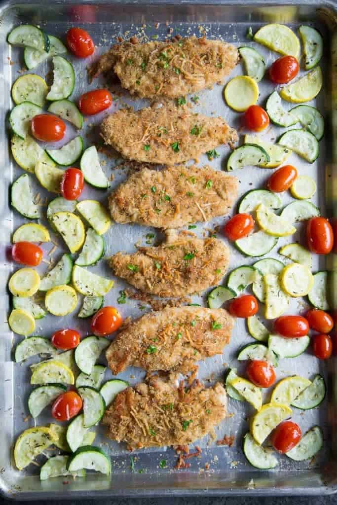 One Pan Garlic Parmesan Chicken and Vegetables