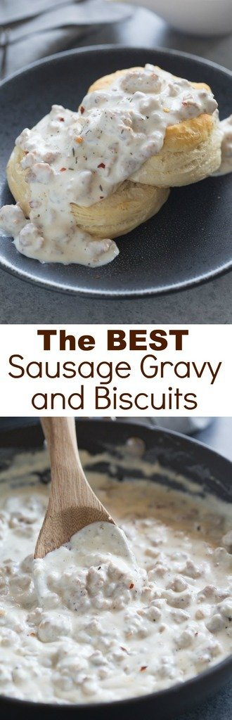 The BEST Sausage Gravy and Biscuits! An easy, southern-style sausage gravy with flaky homemade biscuits. One of our favorite breakfast recipes of all time! | Tastes Better From Scratch