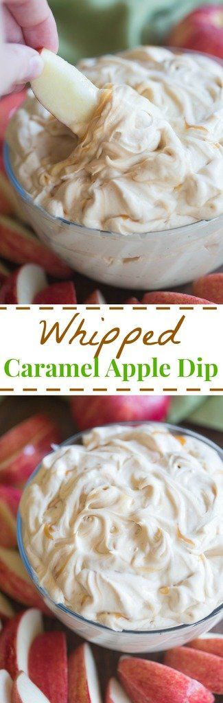 This light and fluffy whipped caramel apple dipcouldn't be easier.  It uses simple ingredients, is made in five minutes, and tastes AMAZING!| tastesbetterfromscratch.com  #creamcheese #easy #recipe