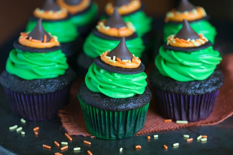 Several chocolate cupcakes with Witch Hat for halloween.