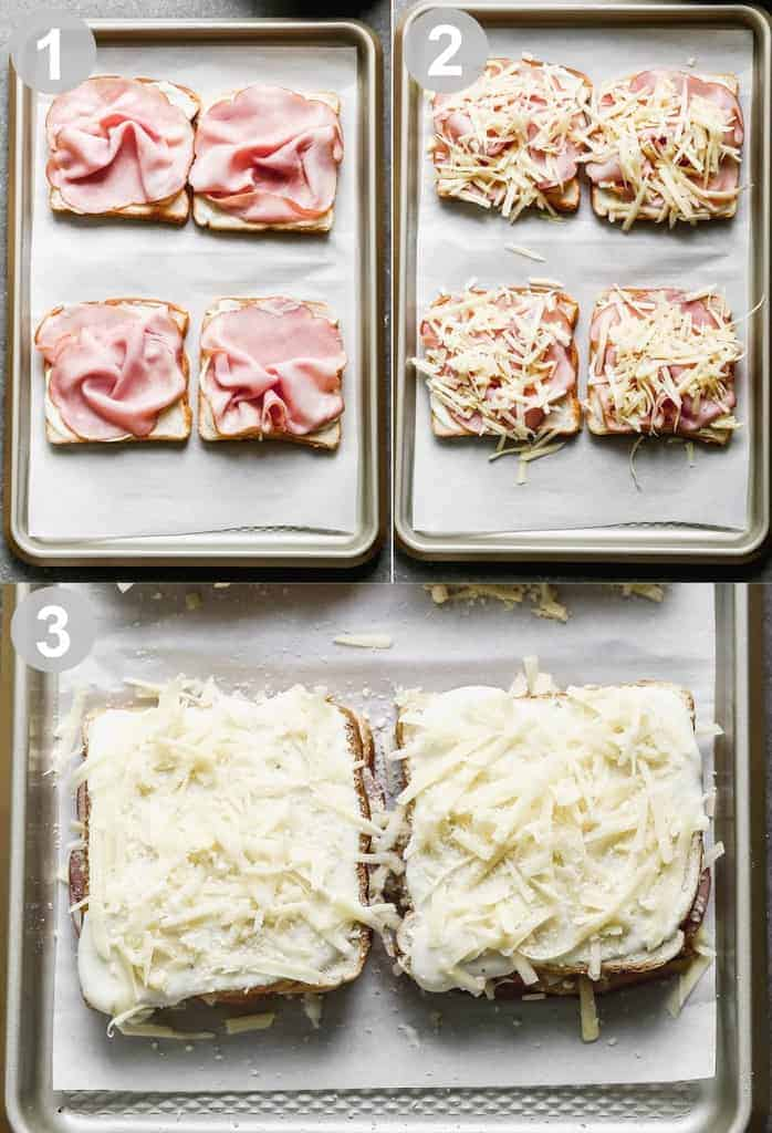 Three process photos for layering bread with béchamel, ham and cheese to make croque monsieur.