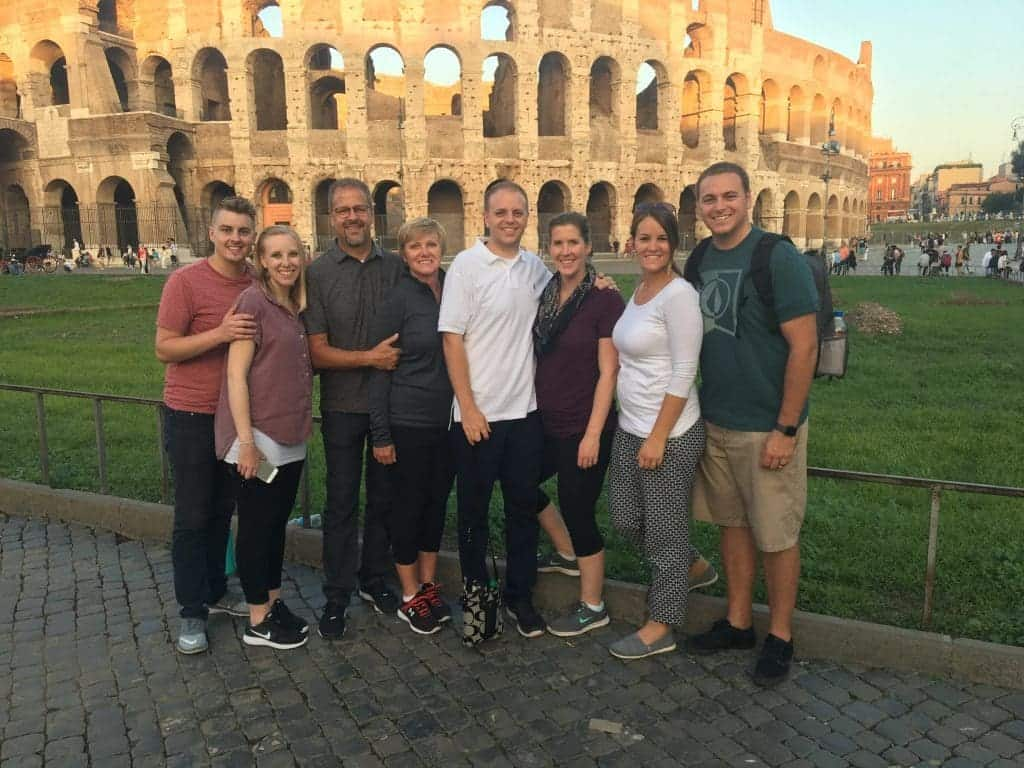 Lauren Allen and family in front of the Coloseum in Italy.