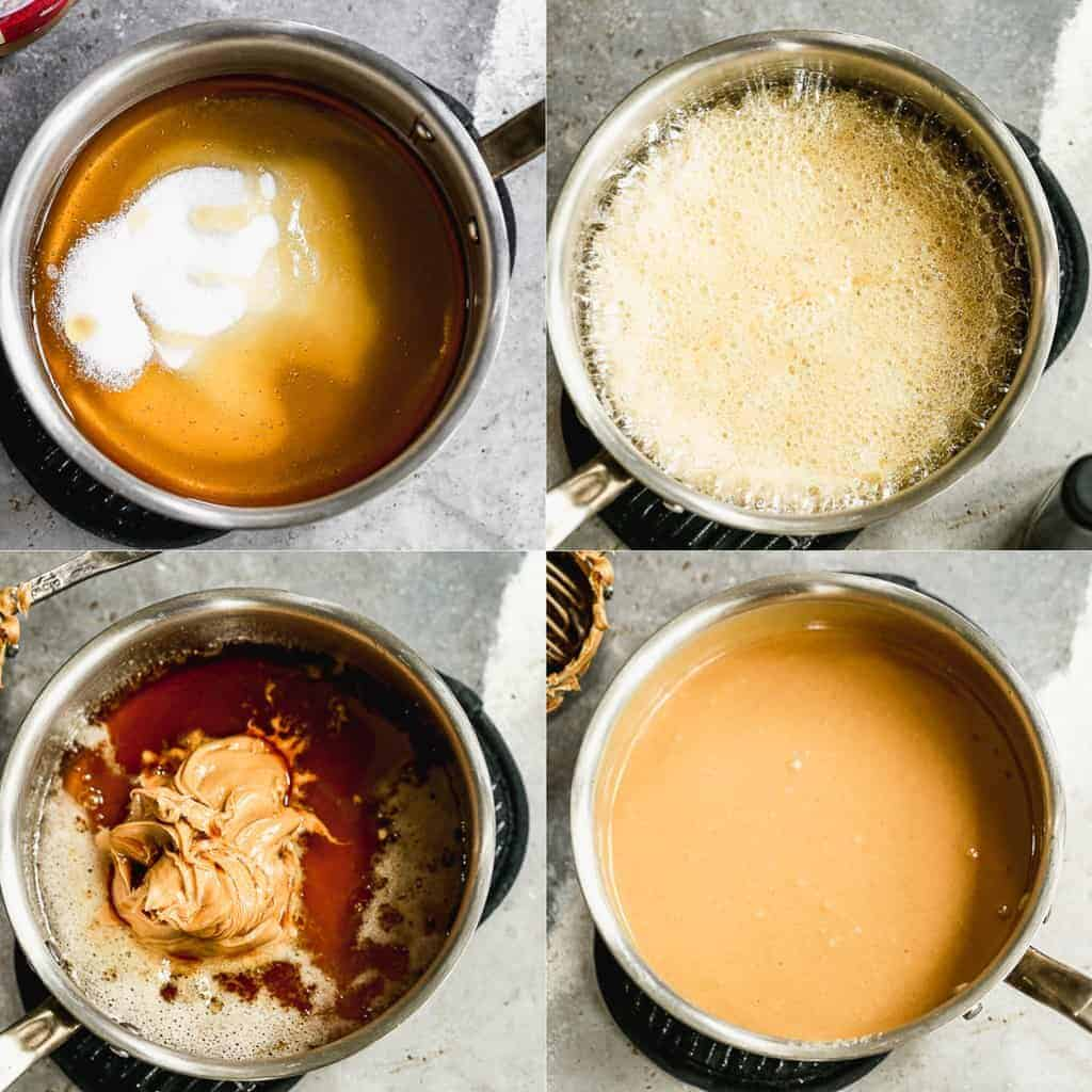 Process photos for making peanut butter sauce in a saucepan.