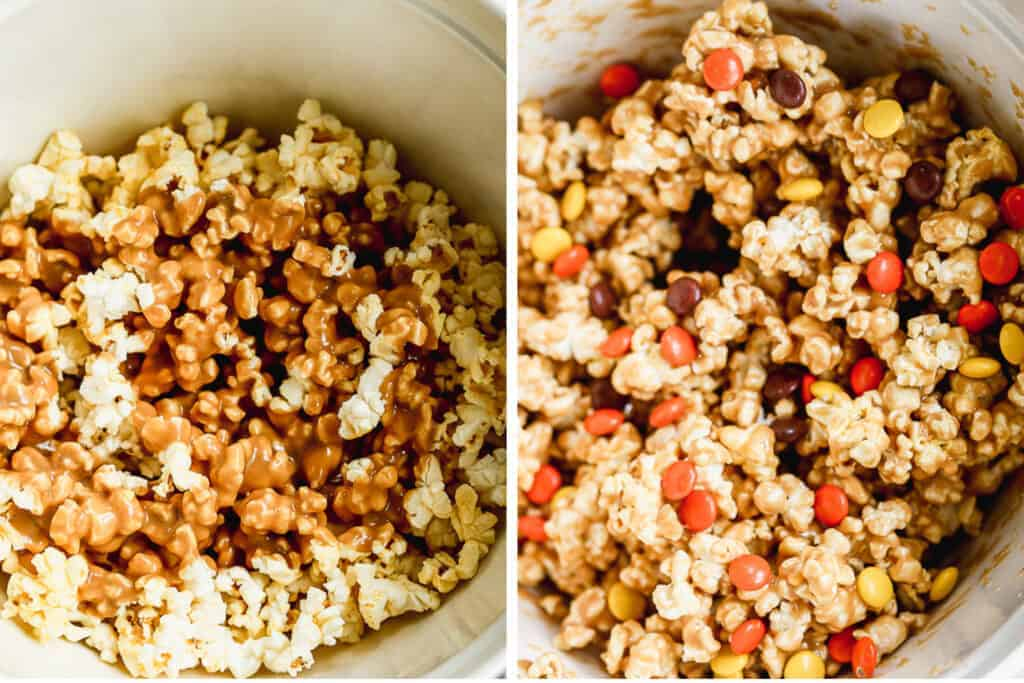 Peanut butter sauce poured over popcorn, then stirred together and Reese's candy added on top.
