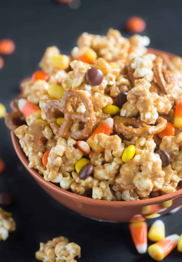 A bowl filled with Peanut Butter Popcorn Party Mix.