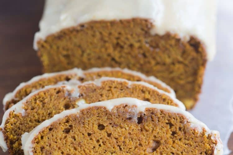 Pumpkin Bread with Browned Butter Maple Glaze | Tastes Better From Scratcj
