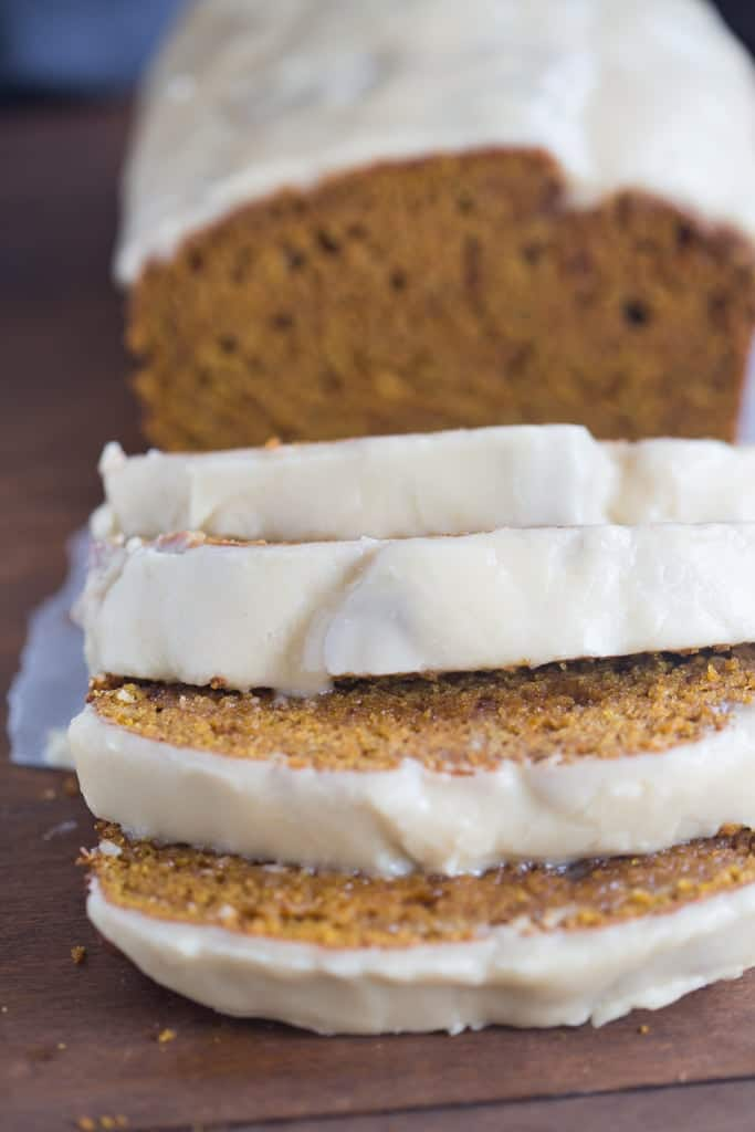 Pumpkin Bread with Brown Butter Maple Glaze | Tastes Better From Scratcj