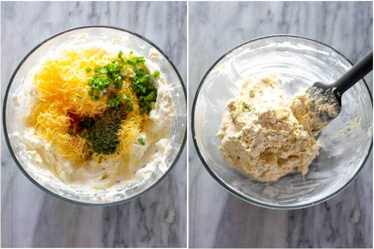 side by side process photos of how to make a cheese ball.