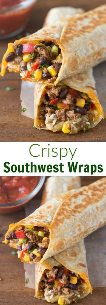 Crispy Southwest Wraps are one of our go-to, easy meals. They take less than 30-minutes and my family loves them! | tastesbetterfromscratch.com  #healthy #recipe #easy #fast