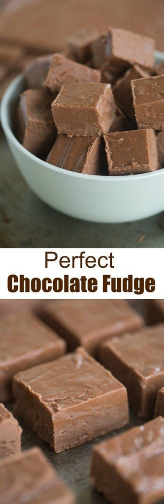 Thick and creamy, perfect chocolate fudge is one of my favorite easy holiday treats! Makes a great homemade holiday gift as well! | Tastes Better From Scratch