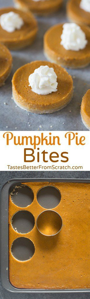 These mini Pumpkin Pie Bites are the perfect bite-size dessert for a crowd! Turn a pumpkin sheet pie into a fun and festive dessert using just a round cookie cutter! | Tastes Better From Scratch