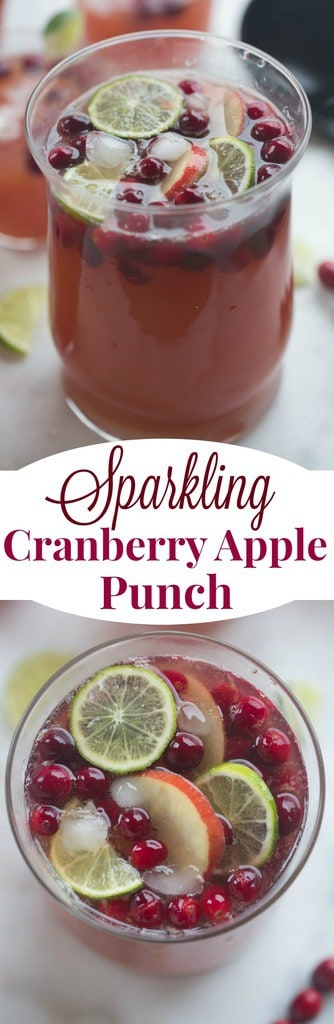 Sparkling Cranberry Apple Punch with fresh cranberries and Ginger Ale is the perfect easy holiday drink for a great party!  | tastesbetterfromscratch.com