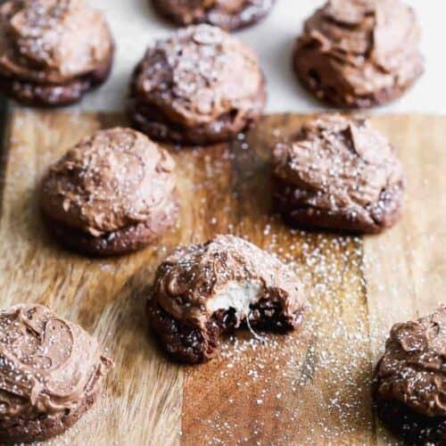Chocolate Marshmallow Cookies on a cutting board.