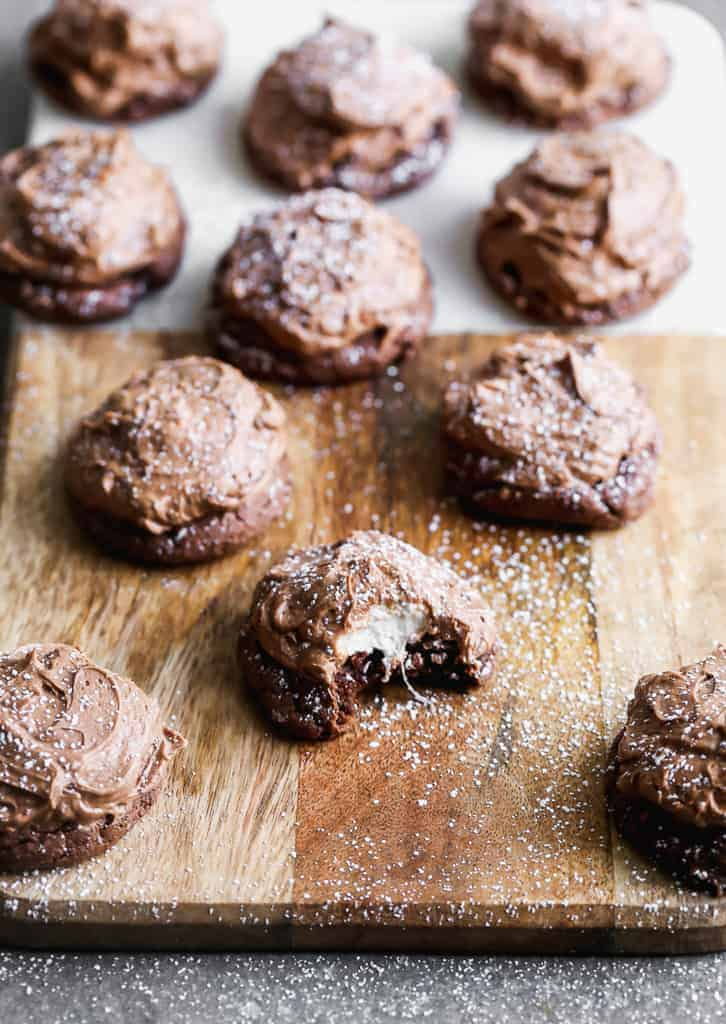 Chocolate Marshmallow Cookies on a cutting board.