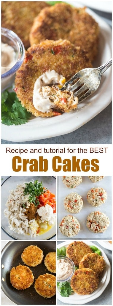 This easy homemade Crab Cakes recipe couldn't be more DELICIOUS or easy! They're made with fresh lump crab meat, diced bell pepper, cilantro, mayonnaise and spices and you can serve them as an appetizer or main dish. #crab #crabcakes #maryland #best #easy #sauce #crabcakessauce #appetizer #holiday