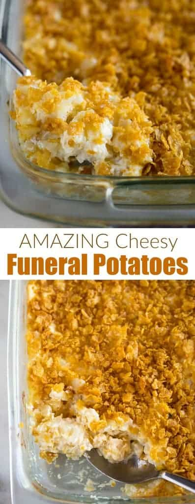 Easy, cheesy funeral potatoes are a delicious hash brown casserole that makes the perfect warm, comforting side dish!  | tastesbetterfromscratch.com  #recipe #withhashbrowns #easy #withcornflakes