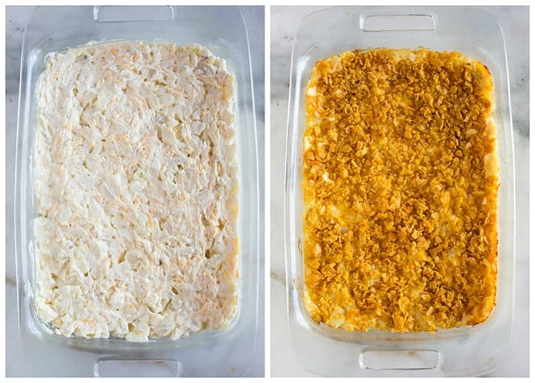 Side by side photos of a pan glass pan filled with the mixture to make funeral potatoes, next to another photo of the final baked funeral potatoes with cornflakes on top.