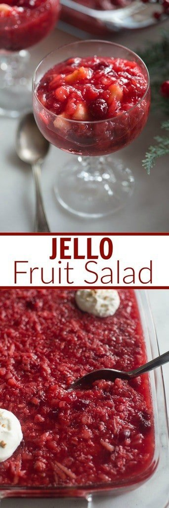Jello Fruit Salad is a family favorite, easy side dish! Perfect for parties or an easy holiday side dish. It's packed with fruit, including apples, cranberries, bananas, strawberries and pineapple! | Tastes Better From Scratch