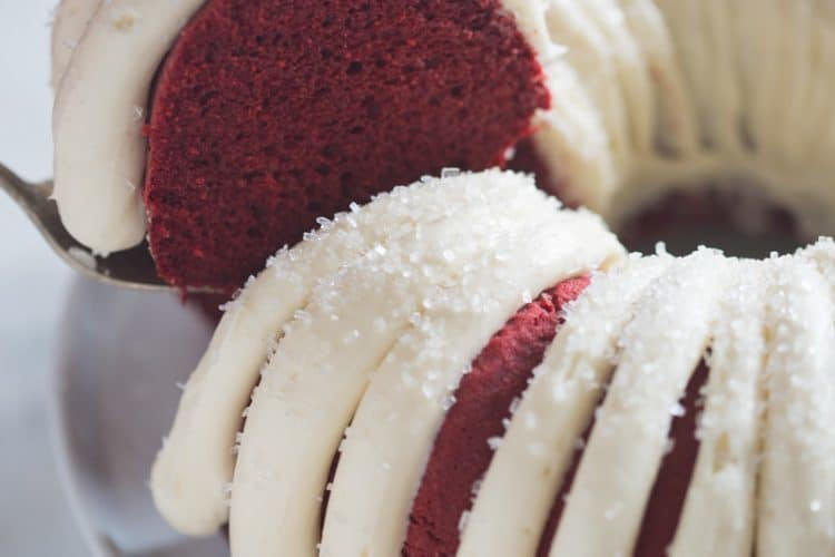 Red Velvet Bundt Cake with cream cheese frosting | Tastes Better From Scratch