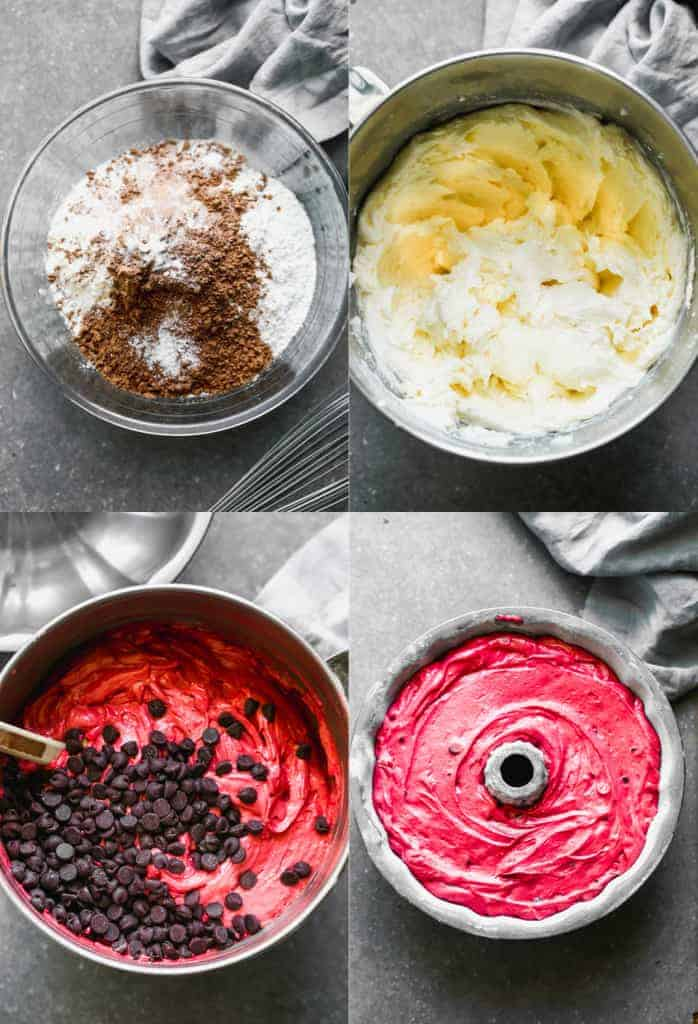Four process photos for preparing the batter for red velvet bundt cake, and adding it to the bundt pan.