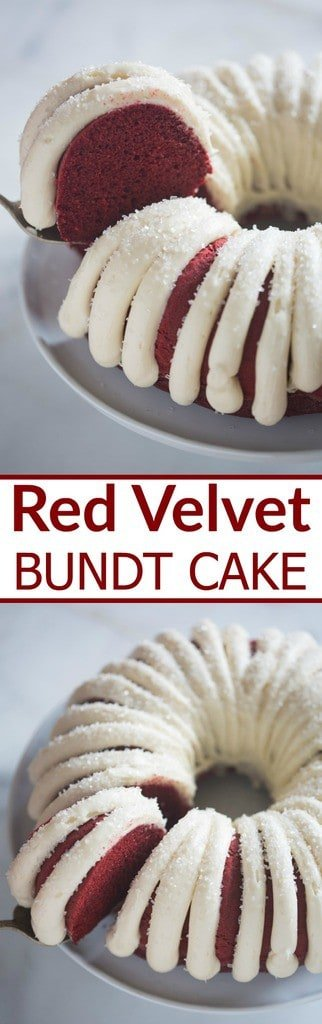 Moist and tender Red Velvet Bundt Cake with cream cheese frosting. Add some chocolate chips for a an even more delicious chocolate flavor. | Tastes Better From Scratch