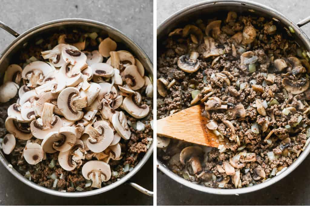 Browned ground beef and fresh mushrooms slices in a skillet and then cooked and stirred with a wooden spoon.