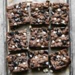 Oreo Bars on a baking sheet, cut into squares.
