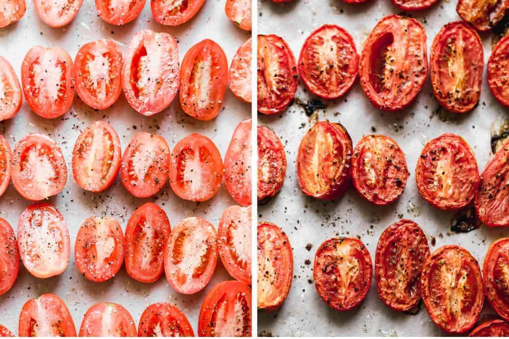 Two process photos of sliced tomatoes on a tray, roasted, to make roasted tomato soup.
