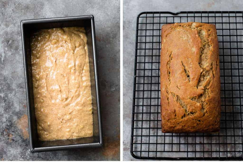 Healthy banana bread batter in a bread pan next to another photo of the baked bread.