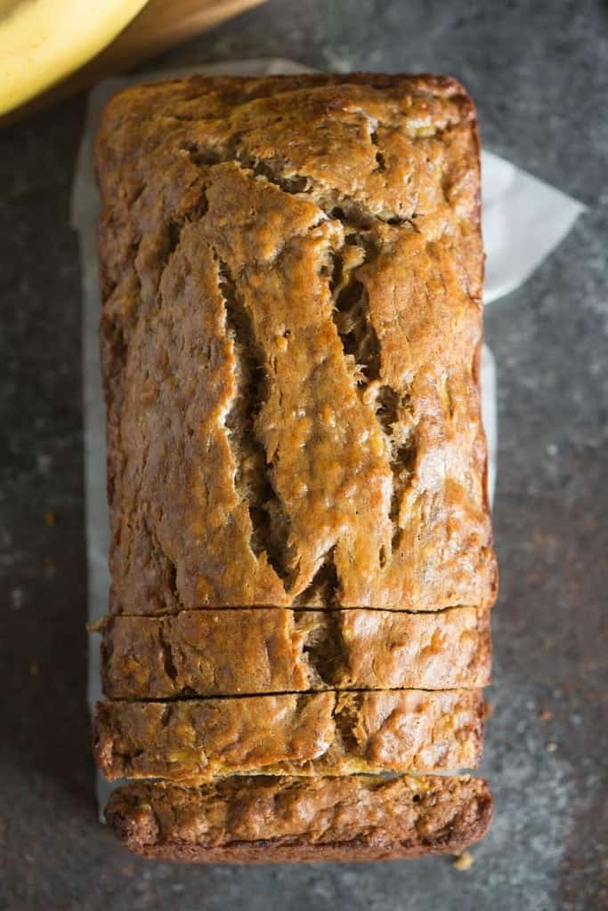 An overhead view of a loaf of Skinny Banana Bread.