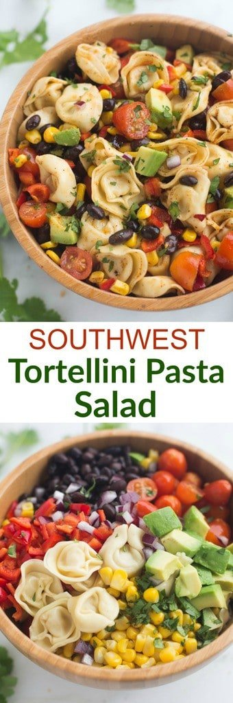 A fresh and easy southwest tortellini pasta salad that can be made in less than 30 minutes! It's loaded with veggies and protein and coated in a deliciously simple and healthy southwest dressing. | tastesbetterfromscratch.com  #pasta #pastasalad #easy #bbq