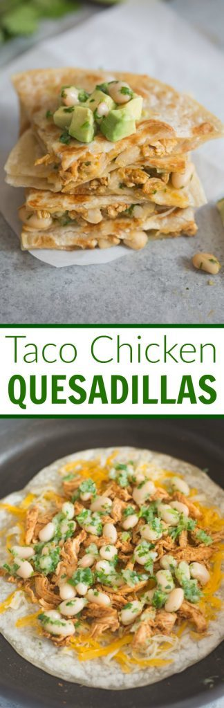Taco Chicken Quesadillas with white bean salsa. A delicious, healthy 30-minute meal.| Tastes Better From Scratch