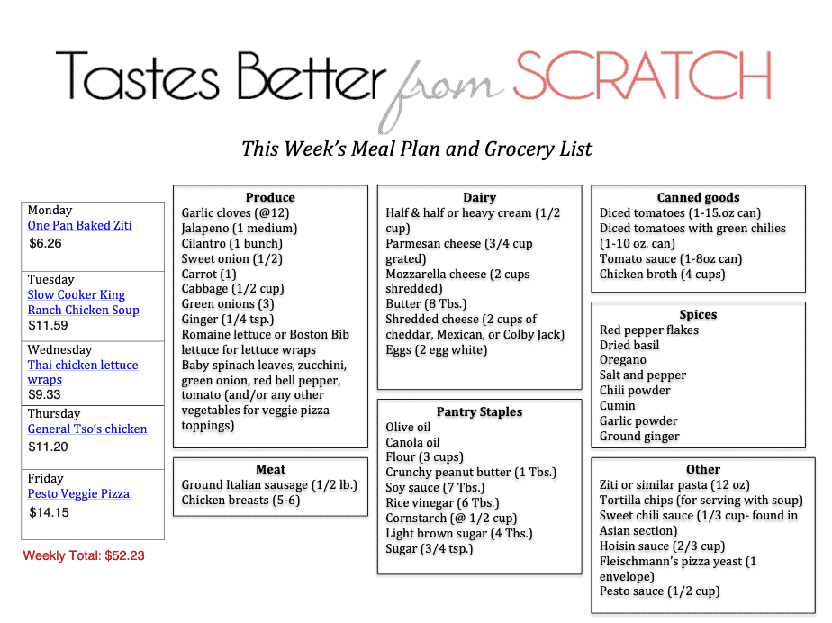 Printable shopping list for weekly meal plan with items in catergories