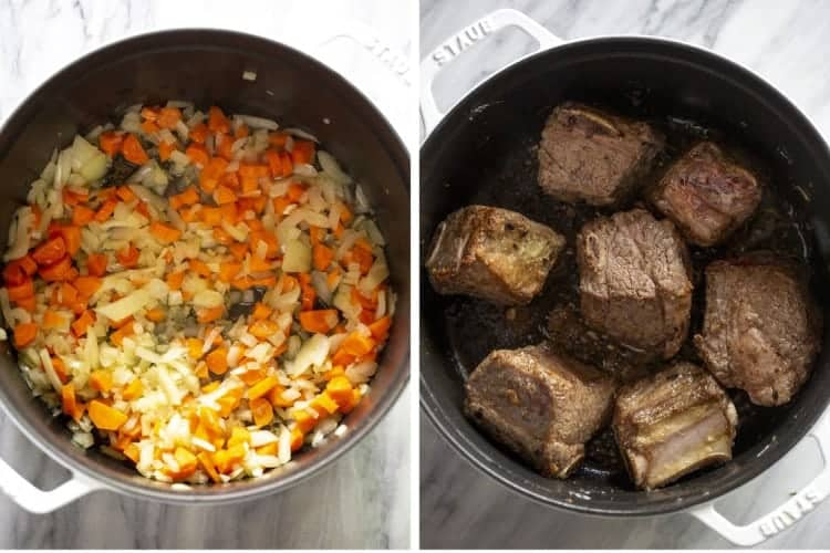 Diced carrot and onion in a pot and another photo of seared short ribs in the pot.