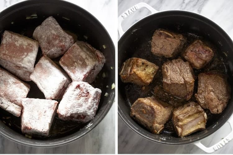 Two process photos for searing short ribs in a pot.