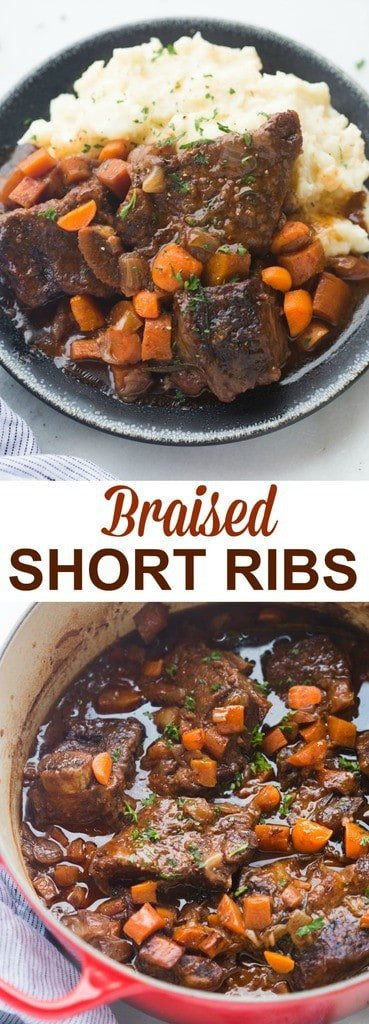 The EASIEST fall-off-the-bone Braised Short Ribs! Tender cooked ribs in a delicious, rich sauce, served over creamy mashed potatoes. All cooked in just one pot!| Tastes Better From Scratch
