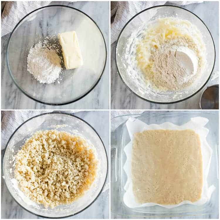 Four overhead process photos for making a shortbread crust for lemon bars, including making the dough from butter, powdered sugar, flour, and pressing it into a baking dish lined with parchment paper.