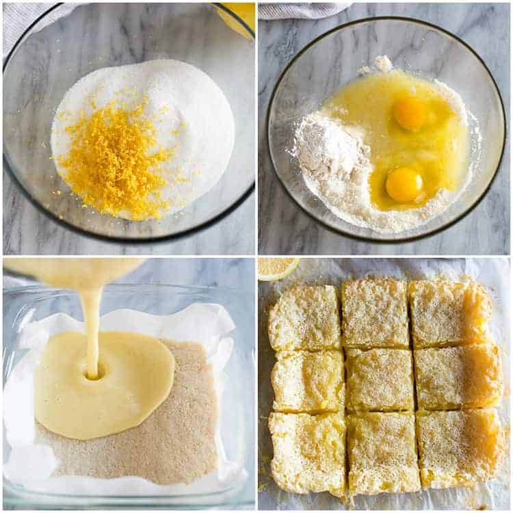 A collage of four overhead photos showing the process for making lemon bars, including making the lemon filling with lemon zest, sugar, eggs, and flour, pouring the filling over a baked shortbread crust, and a photo of the cooked lemon bars cut into squares.