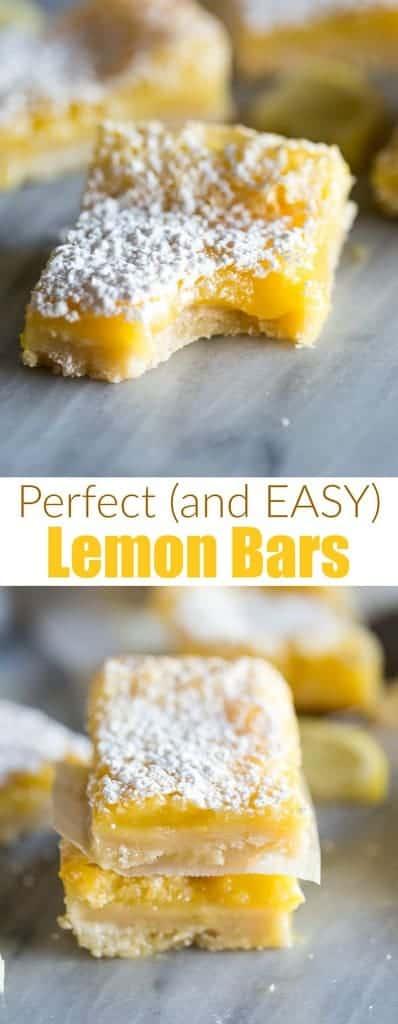 My favoriteEASY Lemon Barsrecipe is made with a buttery shortbread crust andcreamy lemon filling.  #tastesbetterfromscratch #easy #recipe #homemade #lemonbars #dessert