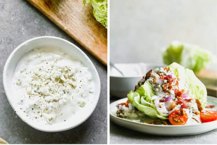 Homemade blue cheese dressing in a bowl, and a wedge of lettuce topped with blue cheese dressing, chopped tomato and bacon.