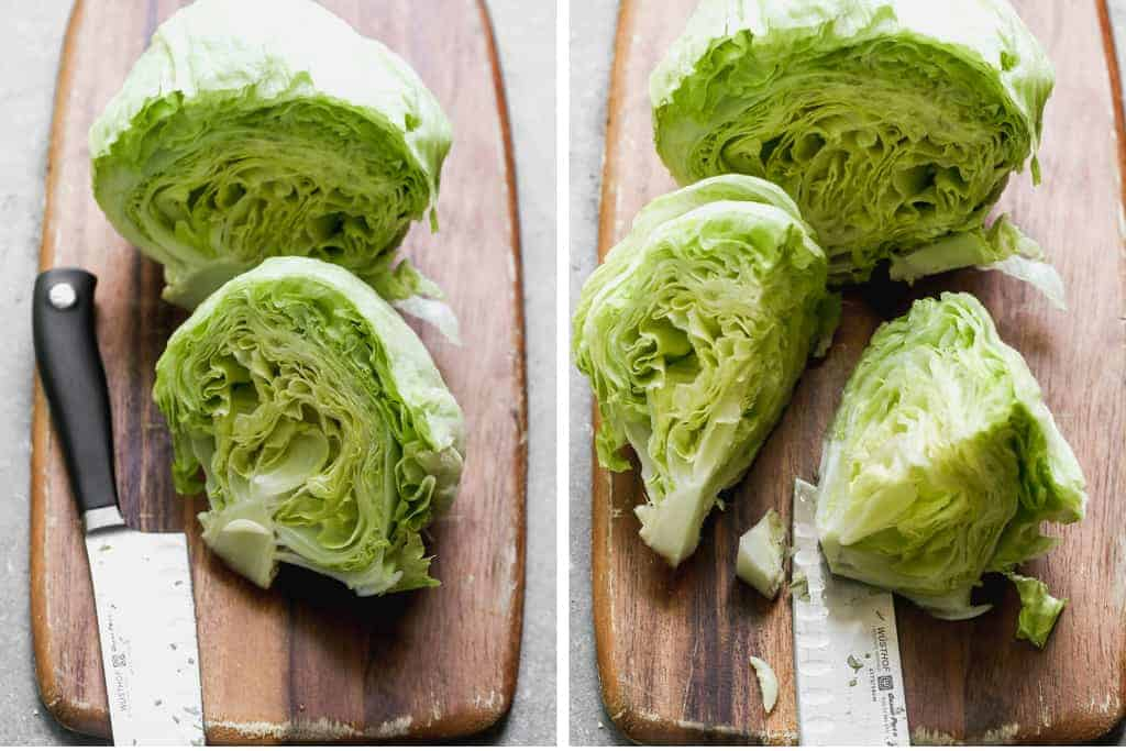 Two process photos for cutting iceberg lettuce into wedges for wedge salad.