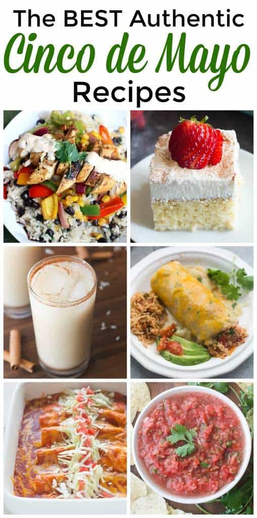 A collage of six cinco de mayo recipes.