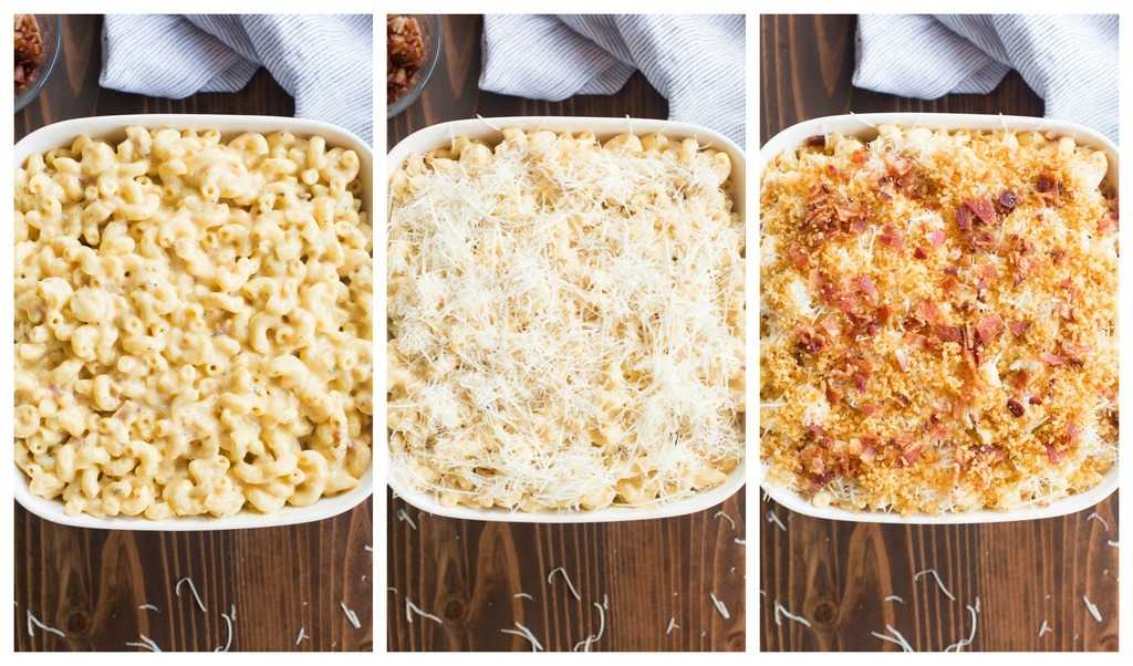 Three photos of mac and cheese being layered into a casserole dish. A layer of cheese noodles, topped with parmesan cheese, and then topped with bacon and panko breadcrumbs