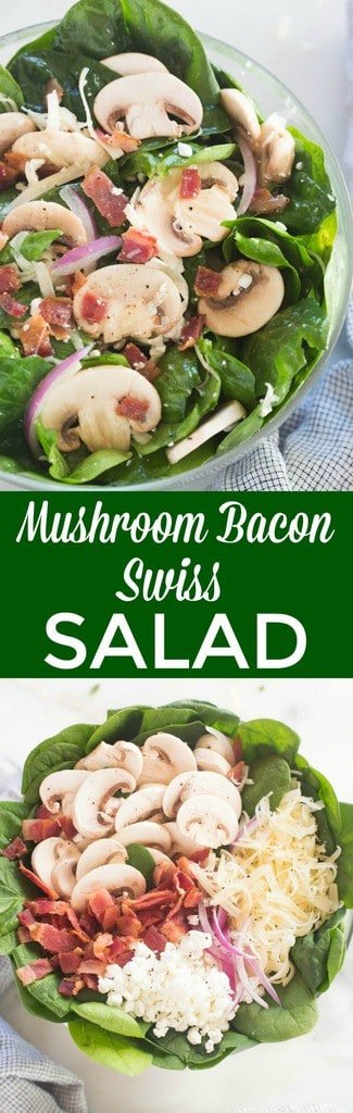 Mushroom Bacon Swiss Salad served over spinach and greens. This salad ROCKS! One of our favorites. The easy poppyseed dressing makes it shine. | Tastes Better From Scratch