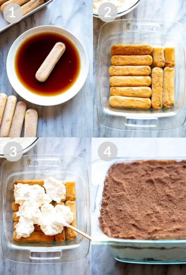 Procese las fotos para colocar capas de tiramisú, incluido mojar los bizcochos en café expreso, colocar capas de un plato, agregar crema de mascarpone, volver a capas y cubrir con cacao en polvo.