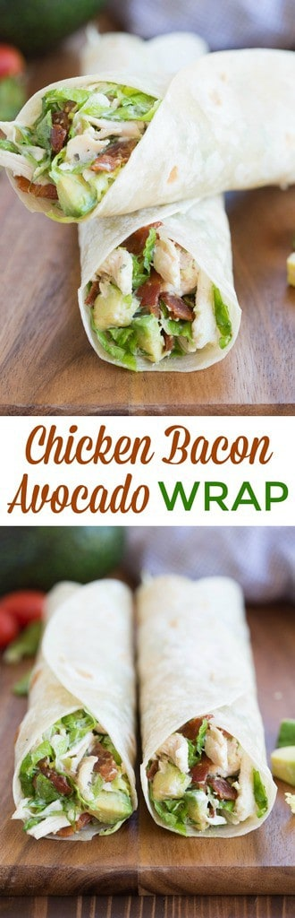 Chicken Bacon Avocado Wrap is one of my favorite easy dinner ideas! Lettuce, chicken, bacon and avocados tossed in a yummy dressing and layered inside a tortilla.