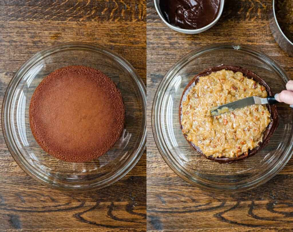 Two process photos of a round chocolate cake with german chocolate frosting being spread on top.